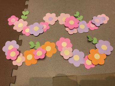 お花の舞台飾り春(春:3月の製作アイデア)