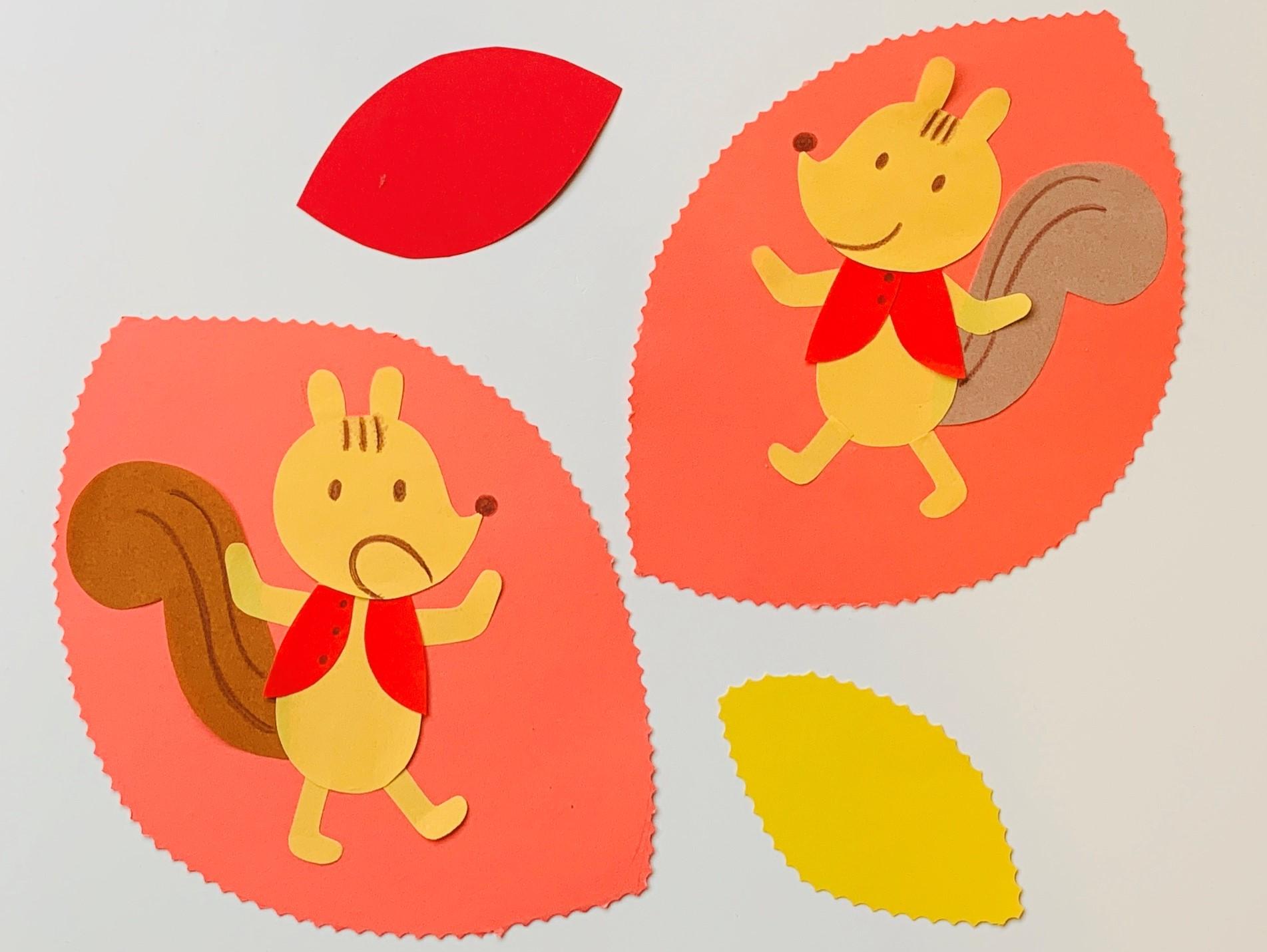 壁面制作「リスさんの秋」(秋:11月の製作アイデア)