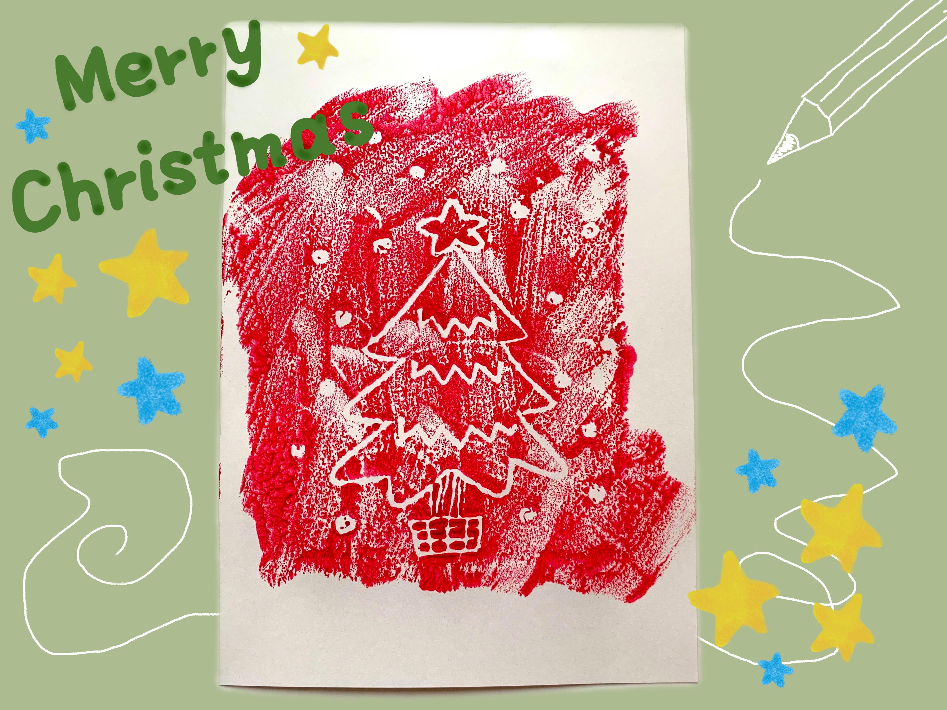 食品トレーで作る クリスマスカード(冬:12月の製作アイデア)