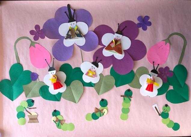 3月の壁面製作〜野原で楽しいひなまつり〜